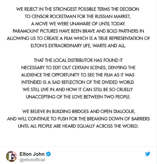 Post di twitter del discorso sulla censura del film Rocketman in Russia